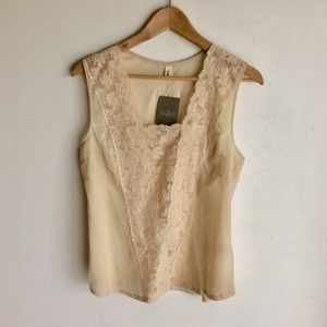 Anthropologie Tiny Ivory Lace Front Top Sz L NWTS